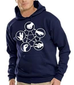 Stein Schere Papier Echse Spock Kapuzen Sweatshirt - Pullover Navy, XXL