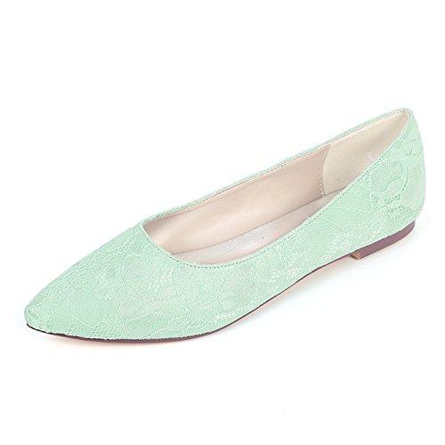 2046-07LS Womens Bridal Shoes Spitze Satin Damen Flache Ballett Brautjungfer Satin Slip On Hochzeit...