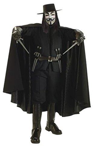 Guy Kostüm Fancy Fawkes Dress - Rubie's Vendeta Halloween Herrenkostüm schwarz XL