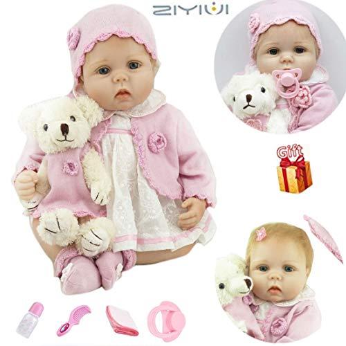ZIYIUI 22 Zoll Reborn Babypuppen Mädchen Realistische Kleinkind Weiche Silikon Vinyl Reborn Baby Dolls Magnetisch Mund Kind Geschenke Realistisch Handgemacht Spielzeug 55cm Xmas Gifts