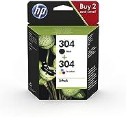 HP 304 3JB05AE - Pack de 2 Cartuchos de Tinta Originales Negro y Tricolor, compatible con impresoras de inyecc