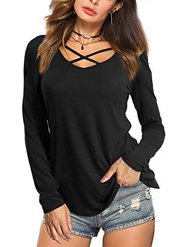 BeLuring Camisetas de Mujer Camiseta de Cuello en v Profunda Blusas Sueltas Ocasionales Blusas Negro