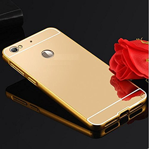 Sun Tigers For Red mi3s Prime - ( gold) Premium Luxury Metal Bumper Acrylic Mirror Back Cover Case