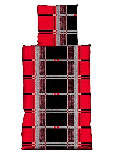 Baumwolle Seersucker Bettwäsche BÜGELFREI Rainer rot 4 tlg. 135x200 cm