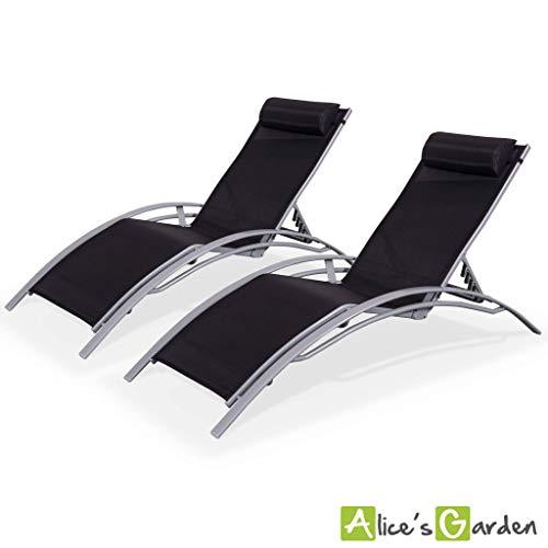 Alice's Garden - Lote de dos tumbona de aluminio y textileno - Negro antracita / Negro - LOUISAx2