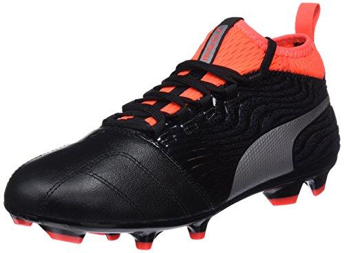 Puma One 18.3 Fg Jr, Scarpe da Calcio Unisex - Bambini, Nero Black Silver-Red Blast, 33 EU