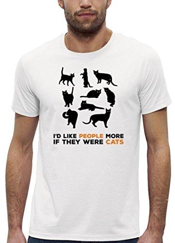 Katzen Premium Herren T-Shirt aus Bio Baumwolle mit Cats are better Motiv der Marke Stanley Stella White