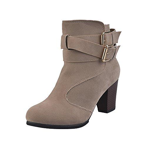 DEELIN Damen Schuhe Gürtelschnalle Damen Faux Stiefel Ankle Boots High Heels Martin Schuhe