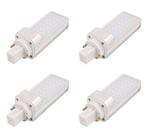 masonanic 4Stück LED G24KOMPAKT-LEUCHTSTOFFLAMPE Tageslicht Natur Weiß drehbar Aluminium Lampe G242-pins LED CFL/Kompakt-Leuchtstofflampe, 5W, 500lm 12W CFL entspricht, natürliches Weiß 4000K (Cfl 12w)