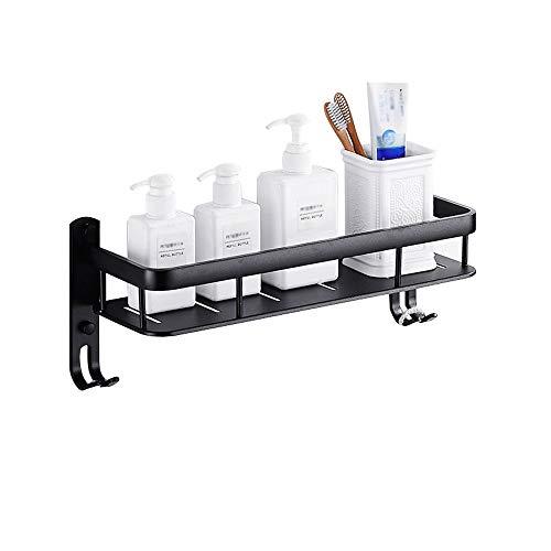 THD-bathroom shelf Wandregale für Badezimmer für Küche oder Bad, Würzmittel, Shampoo oder Badezimmerprodukte, Raum-Aluminium mit Haken, in verschiedenen Größen erhältlich, schwarz (größe : 40cm)