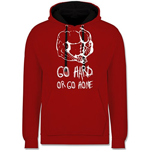 CrossFit & Workout - Go hard or go home - Kontrast Hoodie Rot/Schwarz