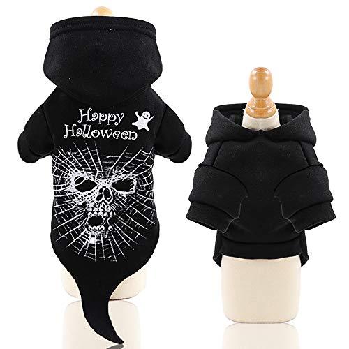 Fansu Halloween Kostüm Hund Haustier Hund Katze Halloween Kostüme, Hoodie Einstellbare Warme Kleidung Netter Pullover Hundepullover Party Cosplay Dekoration (XL,Geist)