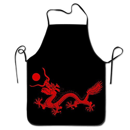 Chinese Culture Red Dragon Woman Funny for Men with Beer Holder Apron for Baking Crafting Gardening Cooking Durable Easy Cleaning Creative Bib for Man and Woman Standar Size (Dragon Lady Red Kostüm)