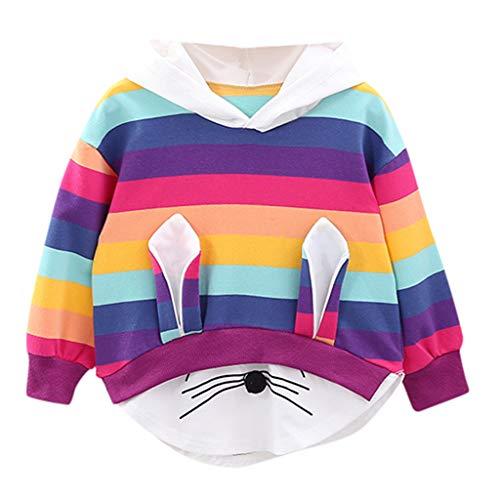 Lomsarsh Baby Kleid, [Kaninchen Ohren Langarm] Kleinkind Kinder Baby Mädchen gestreiften Regenbogen Cartoon Kapuzen Sweatshirt Mantel -