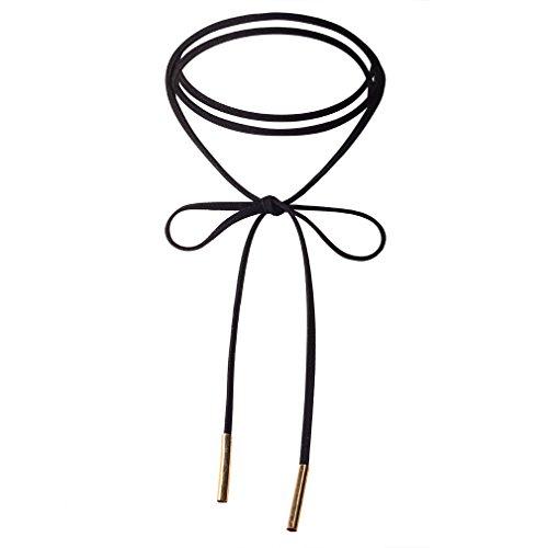 Jane Stone Damen Halskette Choker Halsband schwarz Schnur Boho Stil schick enge anliegende Jocker Kette für junge Frau und Mädel