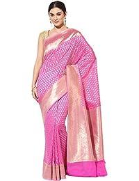 Banarasi Silk Works Cotton Saree With Blouse Piece(PTE87_Pink_Free Size)