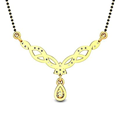 Candere By Kalyan Jewellers Jacqueline 14k Yellow Gold and Diamond Mangalsutra Necklace