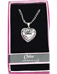 """Chloe Nombre personalizado con texto """"Love Lockets/colgantes con soporte de la imagen Presenta Beautifully by Sterling effectz"""