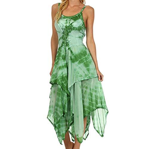 Yvelands Mode Kleid Unregelmäßige Lace Up Korsett Mieder Taschentuch Saum Kleid Strand Lange Maxi Kleider(Grün,S)