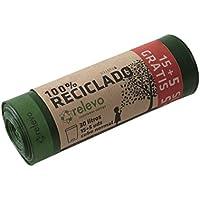RELEVO - Bolsa Basura 100% Reciclado autocierre 30 litros; Cubo Normal. Cuidamos lo Que te Importa