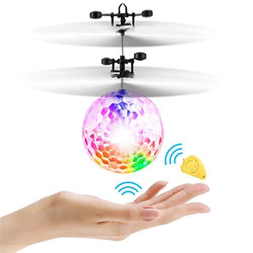 Cypin RC Fliegender Ball Flugzeug Spielzeug Ball Mini Drohne Quadrocopter RC Flying Ball Infrarot-Induktion-Hubschrauber mit Buntem LED Lichter Kollisionsschutz Helikopter für Kinder und Anfänger