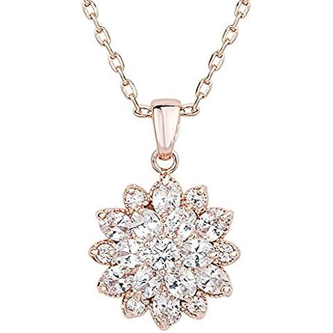 KnSam Donne Placcato in Oro Rosa Per la Collana Edelweiss Fiore Rolo Bianco Cristallo Zirconia Cubica [Novità