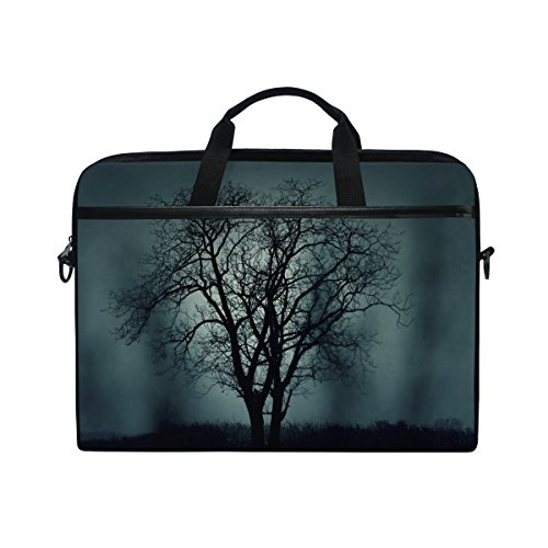 Ahomy Baum Halloween schwarz Dark 35,6-39,1 cm Multifunktional Stoff wasserdicht Laptop Tasche Aktentasche Schultertasche Messenger Bag