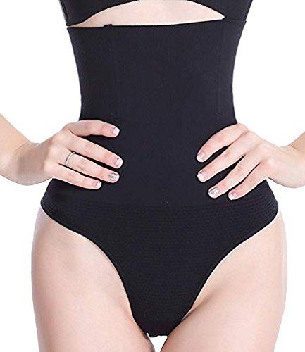 ear String Tanga Bodyshaper figurformende Unterwäsche Bauchweg Miederslip Hohe Taille Shaper Panties- M/L(Taille 26.4-30.3 inch), Schwarz ()