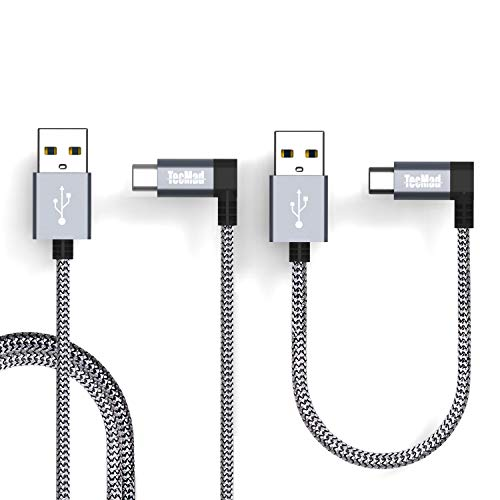 TecMad USB Typ c Kabel USB C Ladekabel 90 Grad Winkel Stecker Nylon USB typ c für Galaxy S9 S8 Plus/Note 9,Hero 5/6,Nexus 5X / 6P,Huawei P10/P20/ Mate 10 pro DJI Mavic Pro Drone-Grau 1m/3.3ft +0.25m