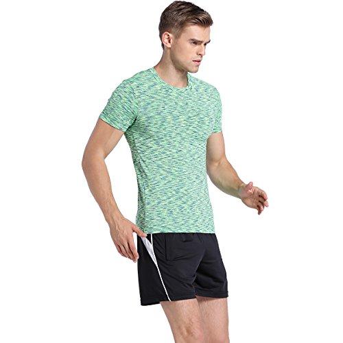 JINSHI Herren Klassische T-Shirt Kurz Arm Fitness Gym Proformance Grün