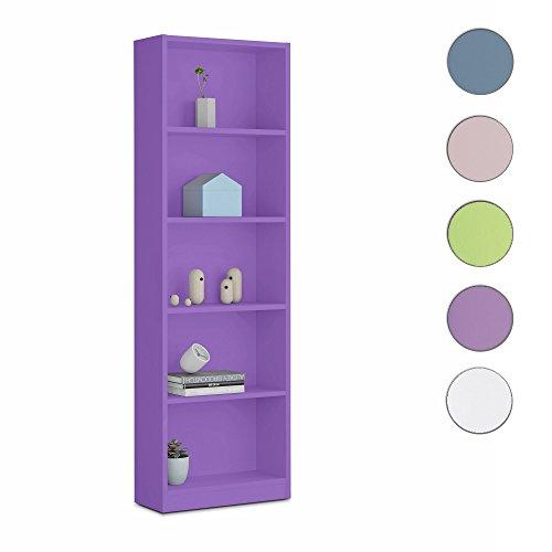 Habitdesign - Estantería juvenil 6 baldas color lila, dimensiones 180 x 52 x 25cm