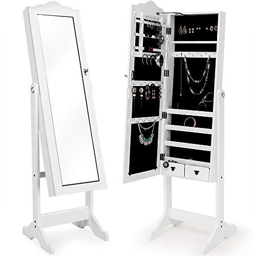 Deuba Schmuckschrank mit Spiegel weiß, stehend & abschließbar Standspiegel Schmuckkasten Spiegelschrank, 154x40x40cm