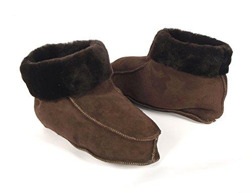 - Pantofole da donna in vera pelle di pecora, con rivestimento in pelle, pelle di pecora e suola rigida, colore: Colori vari Brown (Leather Sole)