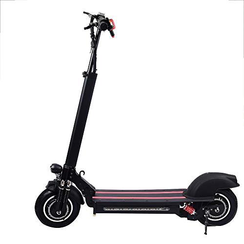 Glory.D Scooter eléctrico, Unidad Doble E-Scooter 1200W Velocidad máxima del Motor hasta 60KM / H - Luces LED de Arco Iris de inducción - 6 Funciones de protección para Adolescentes (Negro con Rojo)