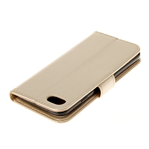 EKINHUI Case Cover Neue Art und Weise Normallack-Mappen-Kasten PU-lederner Buch-Art-Schlag-Standplatz-Fall mit Kartenschlitzen u. Lanyard u. Magnetischer Verschluss für IPhone 7 ( Color : Red ) Gold