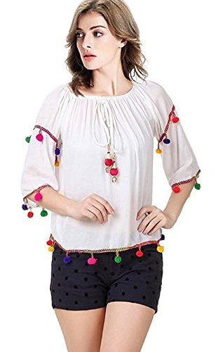 TRIUMPHIN White Pom Pom Women Off Sholder Cotton Top For Dailywear and Western Wear Women Tops Only For Small and Medium Sizes