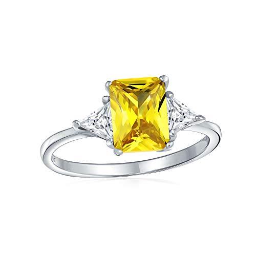 Bling Jewelry 3Ct Kanarischen Gelbes Quadrat Zirkonia Princess Cut Billionen Seite Steine AAA CZ Verlobungsring 925 Sterling Silber (Gelber Princess-cut Diamant-ring)