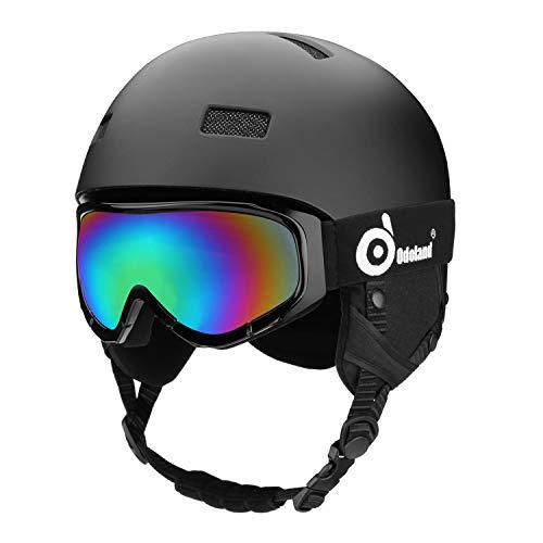ODOLAND Casco de Nieve con Gafas de esquí para Adultos y jóvenes, Ca