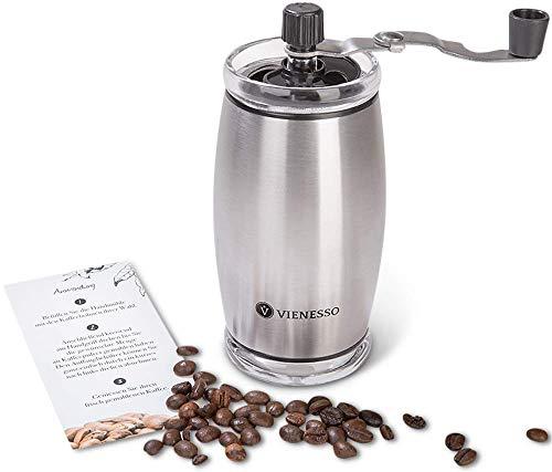 VIENESSO Hand-Kaffeemühle mit Keramikmahlwerk - manuelle Espressomühle und stufenlose Mahlgradeinstellung, besonders leicht mit 35g Füllmenge, umweltfreundlich + robust + langlebig + E-Book! (Silber)