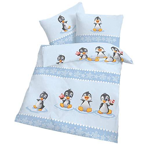 CMF Biber Bettwäsche Baby Pinguin Hell-Blau 100x135 cm Bettbezug 40x60 cm Kissenbezug