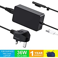 Surface Pro 4 Charger Surface Pro 3 Charger, LEMARCH 36W 12V 2.58A Power Supply Compatible With Microsoft Surface Pro 3 / 4 / i5 / i7 Surface Pro 5 Surface Laptop with UK AC Power Cord