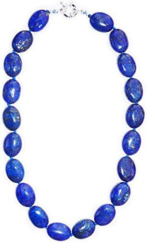 60 cm Halskette aus Lapislazuli navy, hochwertige und Cut, oval