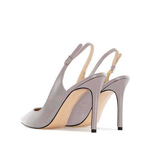 Edefs - Chaussures À Talons Hauts Pour Femmes - Chaussures À Bride À La Cheville Derrière La Cheville - Chaussures À Bride Arrière Pour Femmes Gris