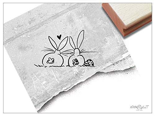Stempel Osterstempel OSTERHASEN mit Herz (klein) - Tierstempel zu Ostern, Osterfest Karten Geschenkanhänger Geschenk für Kinder Osterdeko - zAcheR-fineT