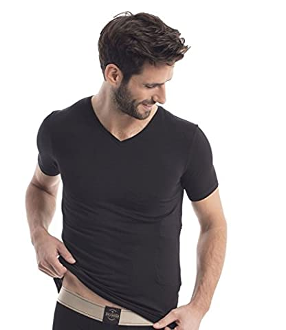 RJ Traditional Bodywear 37-024 Men's The Good Life Black Lyocell Cotton Short Sleeve Top XLarge