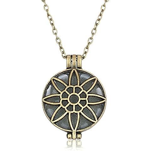 YC superior Original diseño único hueco de girasol Noctilucent Retro colgante collar