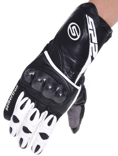 Seibertron SP2 SP-2 Leder Herren On-Road Motorrad-Handschuhe echtes Leder Moto-Cross Motobike Motorrad Sport-Handschuhe (Schwarz+weiß, XL)