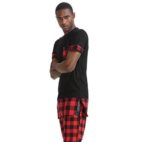 Pizoff Unisex Hip Hop Langes T-Shirt mit Karo Druckmuster Saum Reißverschluss P3259-black