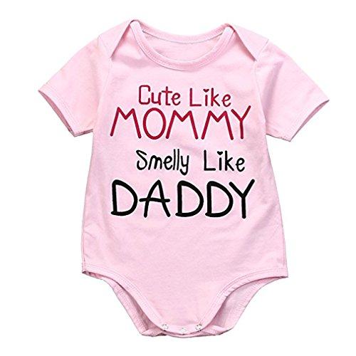 Chicolife Niedlich wie Mommy Smelly Wie Daddy Kostüm Bedrucktes Neugeborenes Baby Spielanzug Bodysuit (Und Baby Daddy Kostüme)