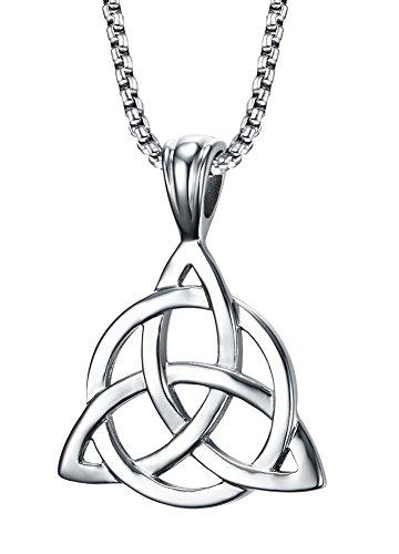 Vnox Herren Damen Edelstahl 3 in 1 Dreifach Keltische Knoten Valknot Trinity Anhänger Halskette Silber